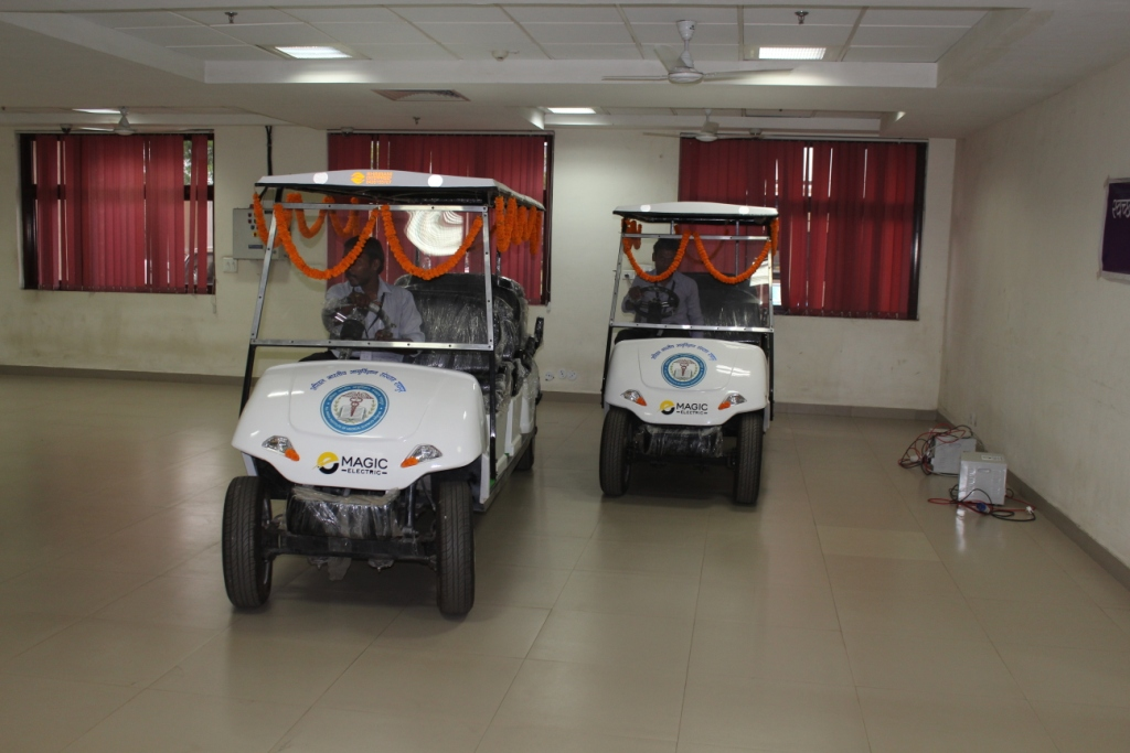 Electric cars were added onto facilities of AIIMS Raipur, for old age and disabled people.