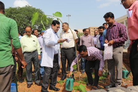 Plantation program held on 04-08-2018 under AIIMS Raipur Contractual Employees Association as Go Green Movement at AIIMS Raipur