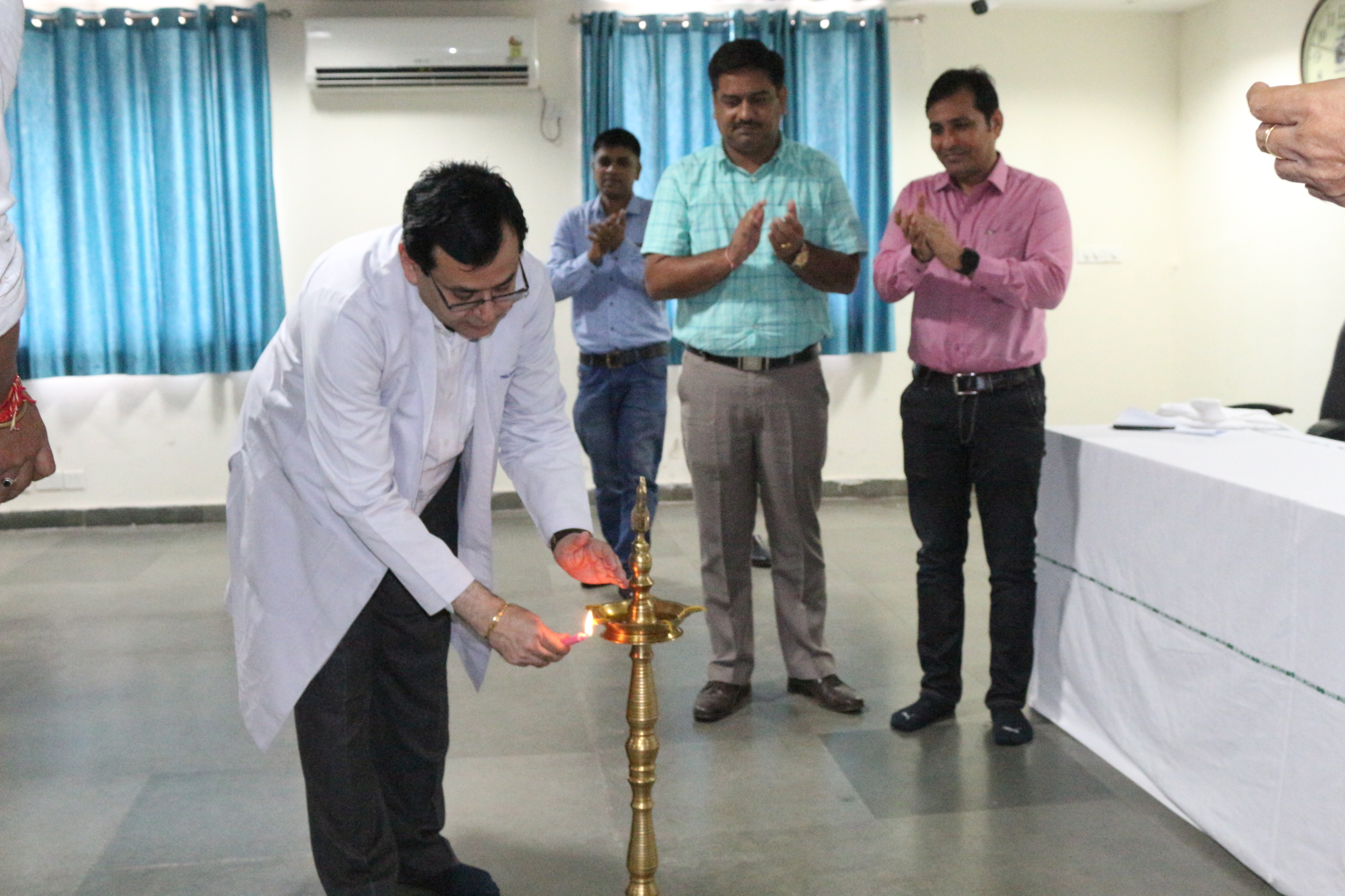 Respected Director and Officers Inaugurating Hindi Divas / Hindi Fortnight on 14 September 2019 at AIIMS Raipur
